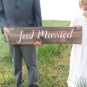 NEW Wood Just Married Sign Engagement Photo Prop